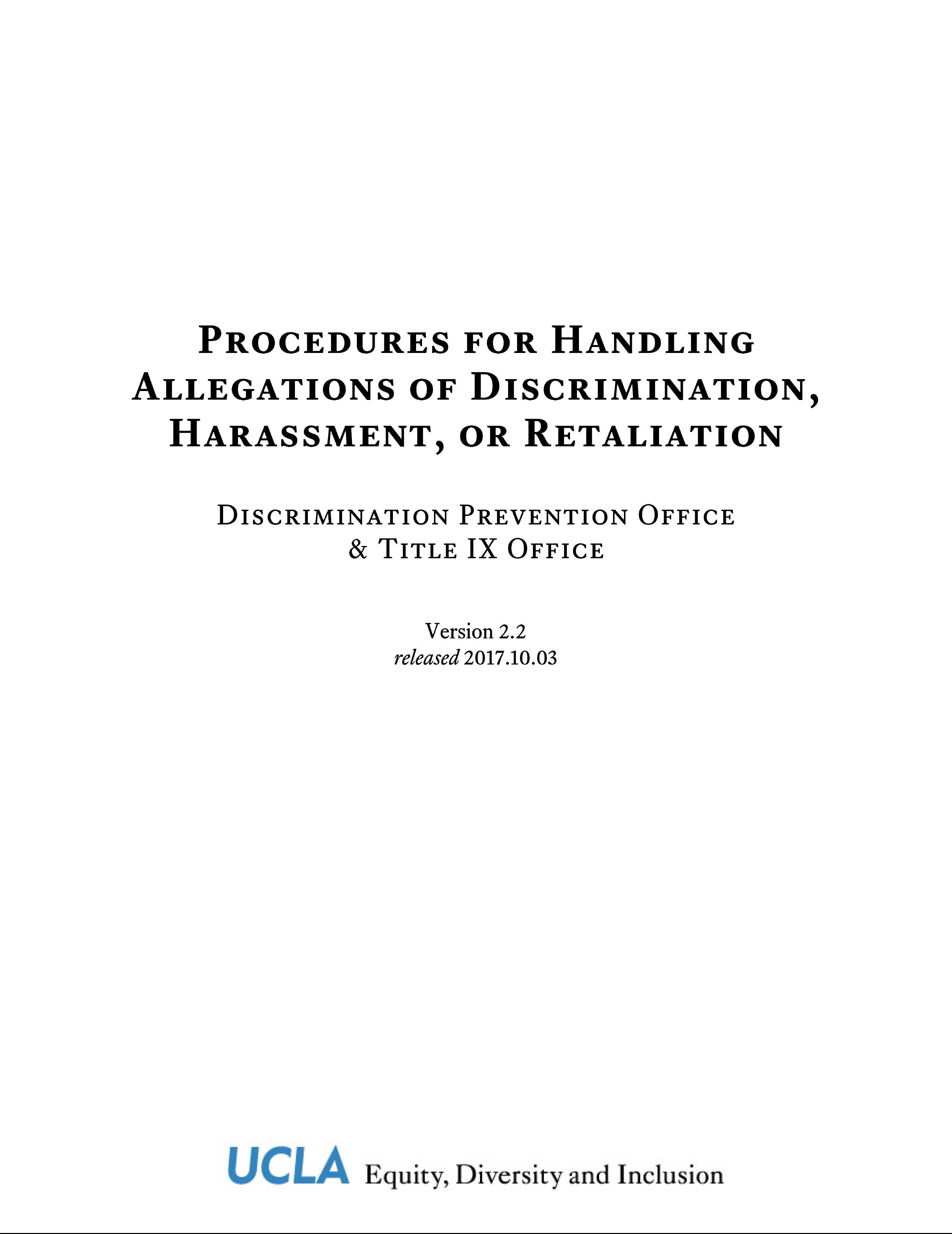 Procedures for Handling Allegations of Discrimination, Harassment, or Retaliation