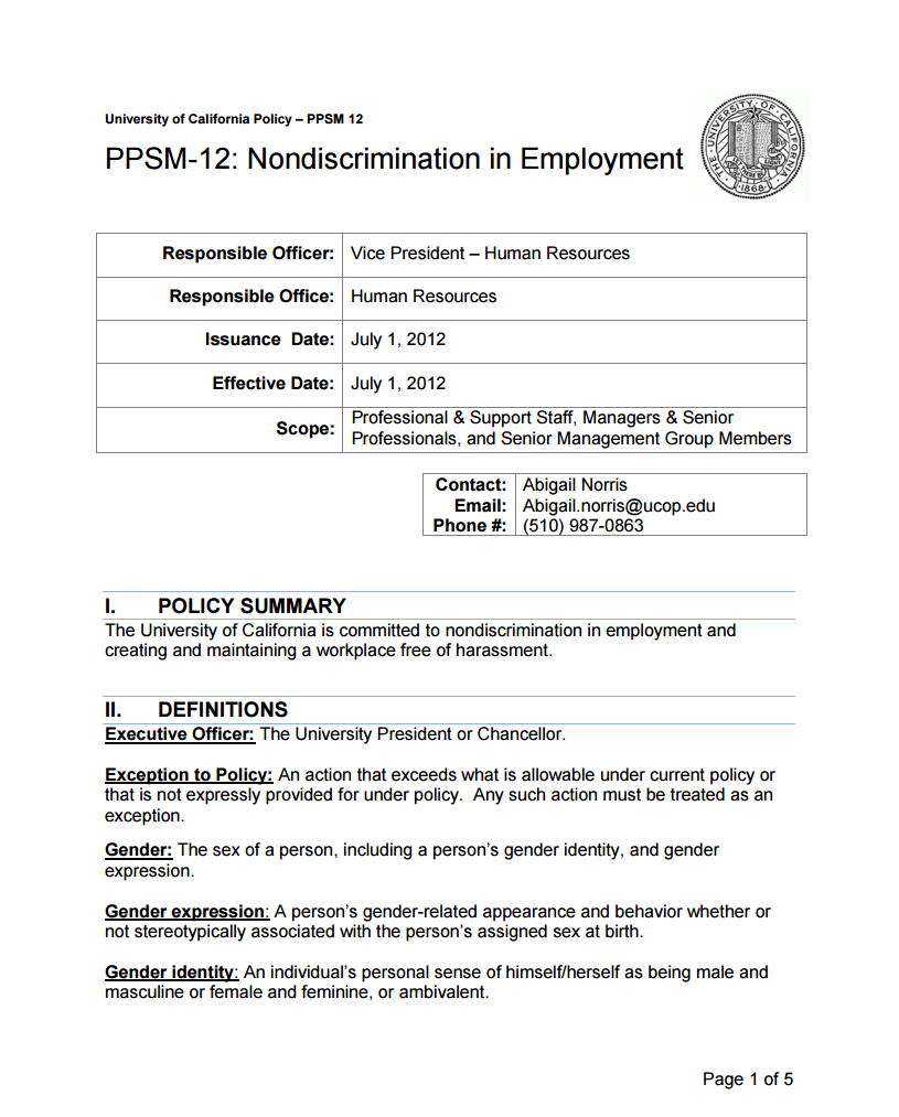 UC Nondiscrimination in Employment Policy