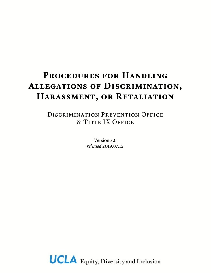 Procedures for Handling Allegations of Discrimination, Harassment, or Retaliation