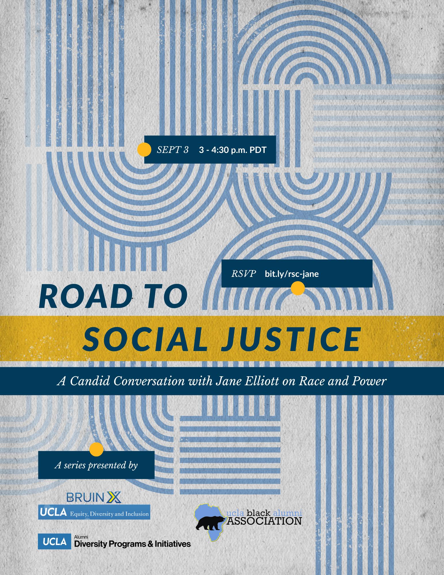 flyer for road to social justice jane elliott event