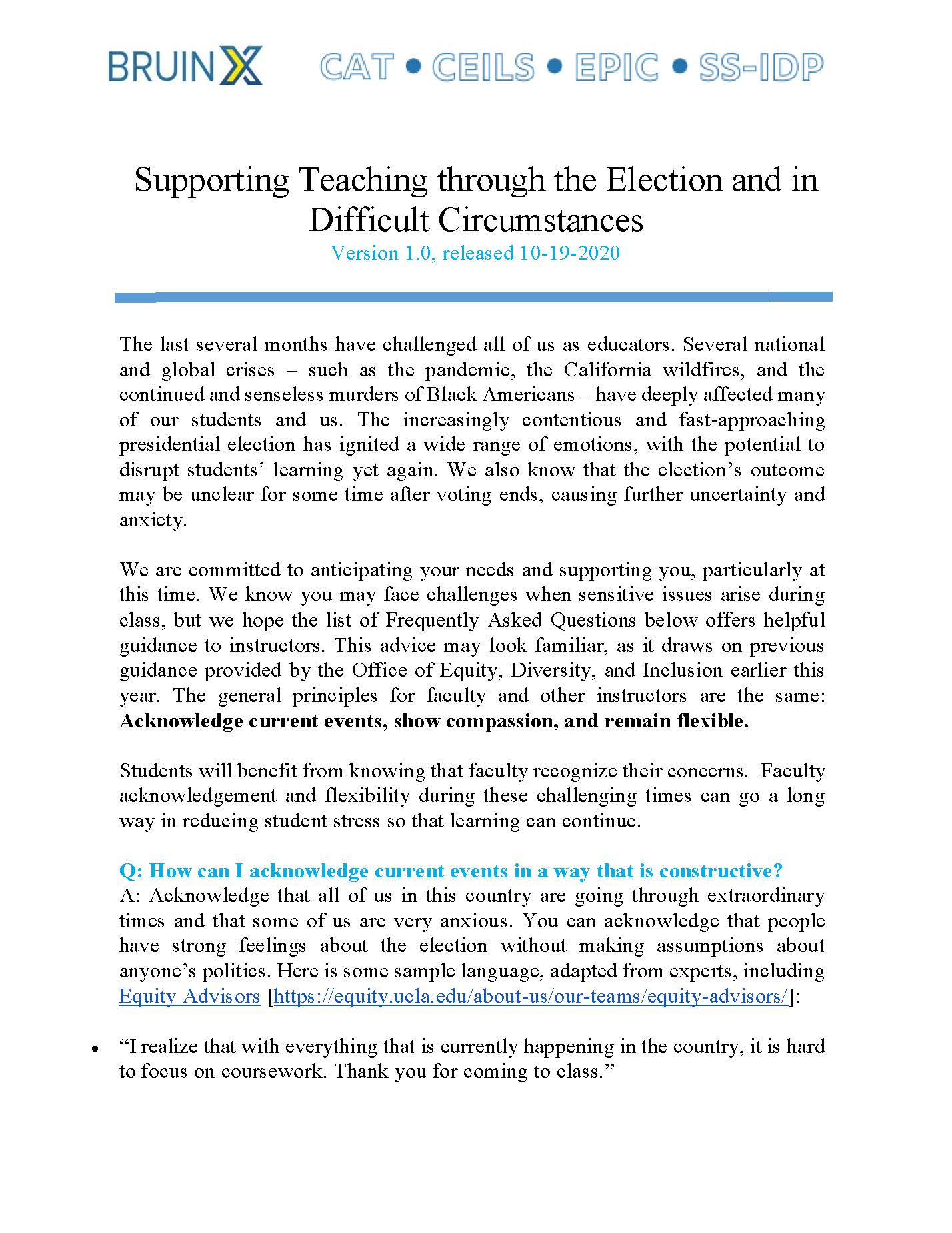Guidance on Teaching During the Election