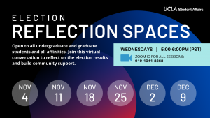 flyer for student affairs election reflection spaces