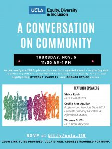 final flyer for a conversation on community event