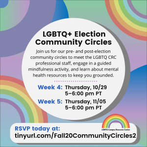 flyer for lgbtq+ election community circles