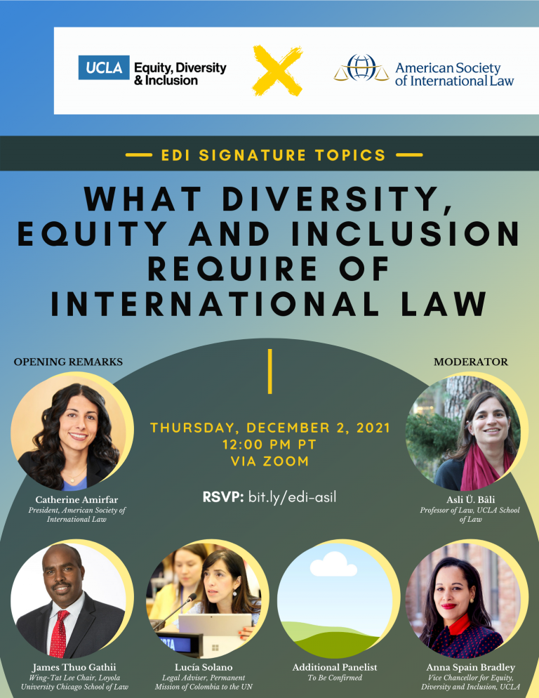 flyer for edi signature topics - what diversity, equity and inclusion require of international law, taking place on thursday, december 2, 2021 at 12 pm