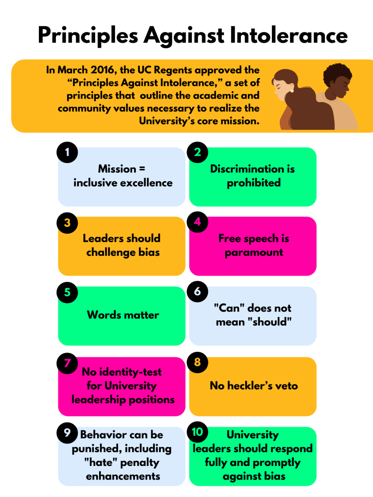 colorful graphic visualizing the 10 core values of the principles of intolerance