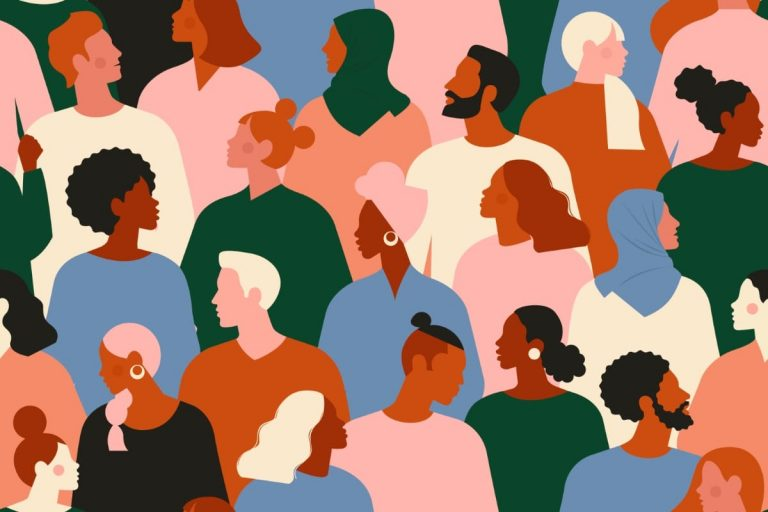 graphic illustration with people of all colors