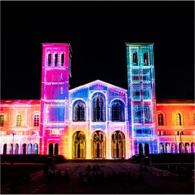 royce hall in rainbow colored lights