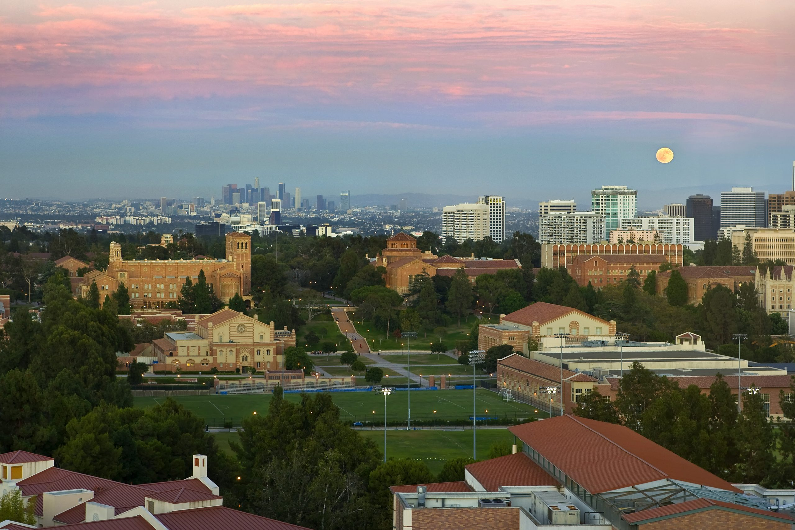aerial view of UCLA campus and city of los angeles