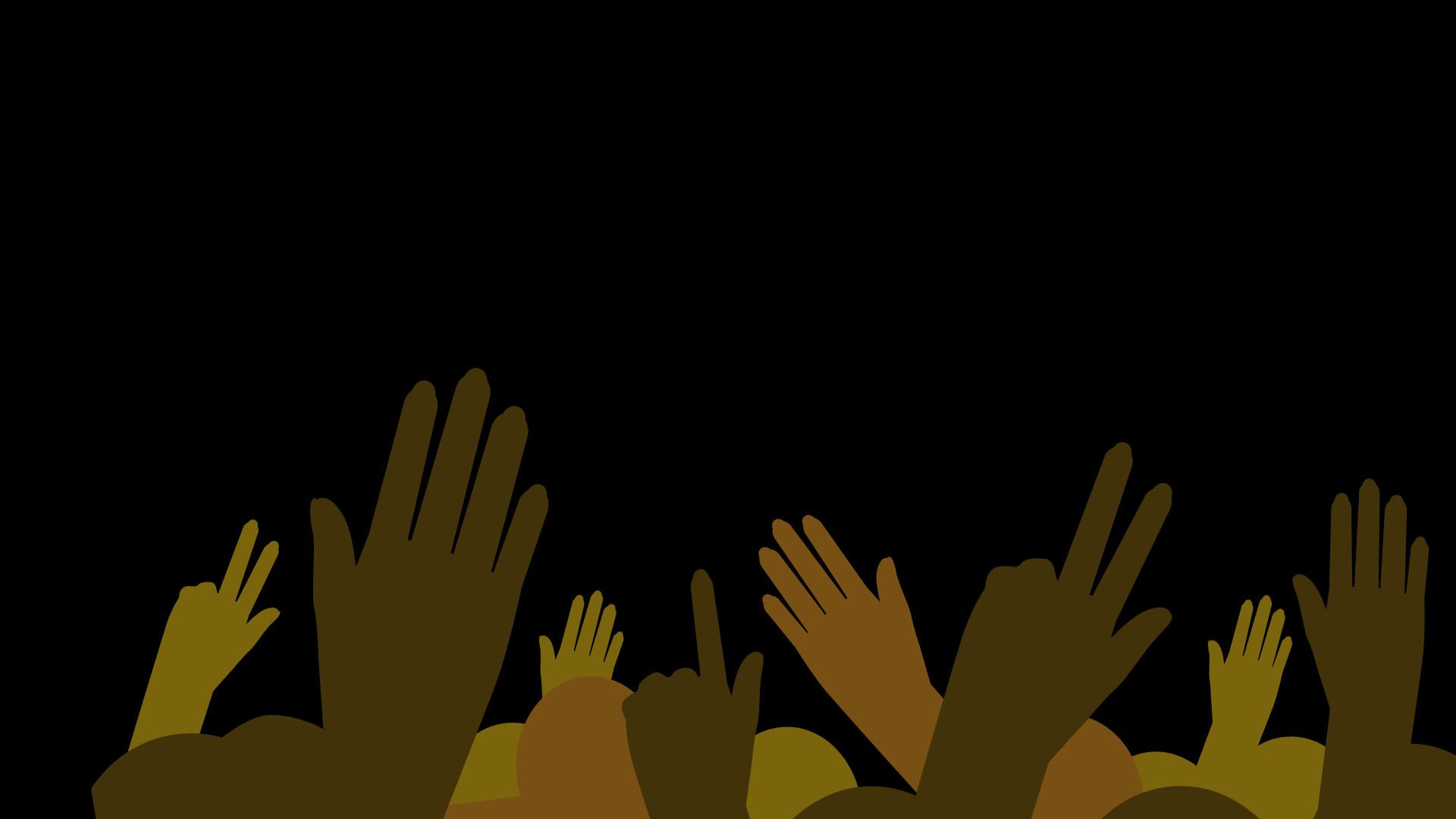 graphic of diverse hands raised up