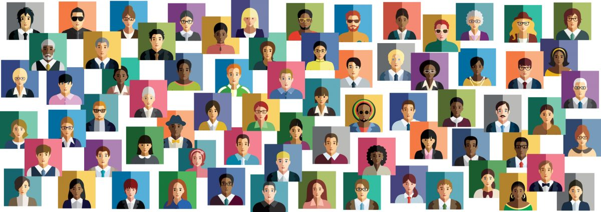graphic of diverse faces