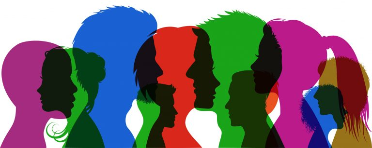 illustration of group of colorful profile silhouette faces overlapping with one another