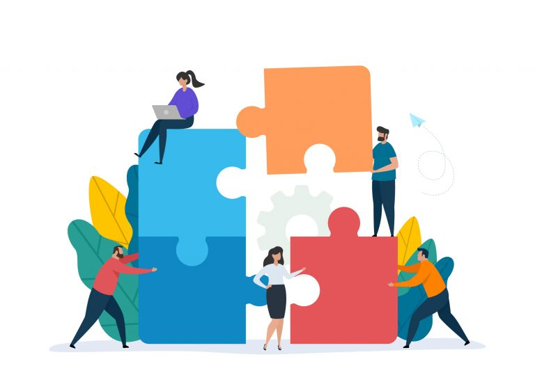illustration of people moving giant puzzle pieces together and demonstrating teamwork