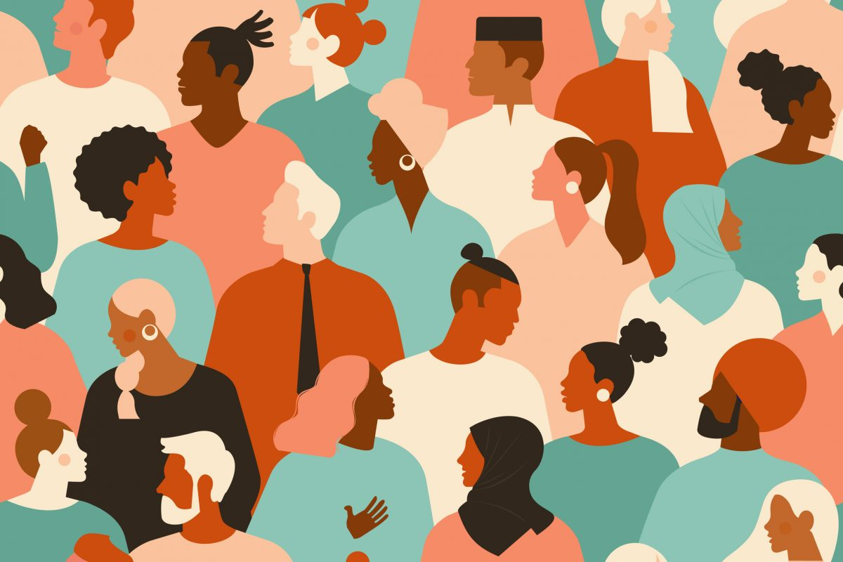 illustration of crowd of young and elderly men and women in trendy hipster clothes. Diverse group of stylish people standing together. Society or population, social diversity