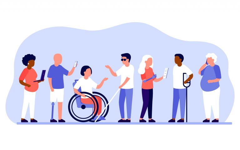 illustration of group of diverse people with disabilities working together in office