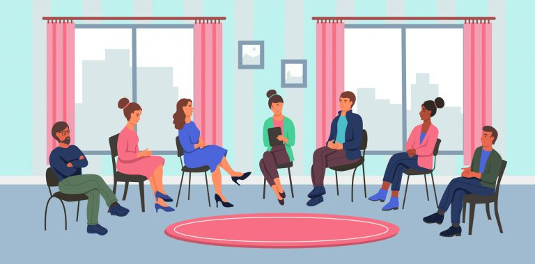 illustration of diverse people sitting in a group therapy or counseling session