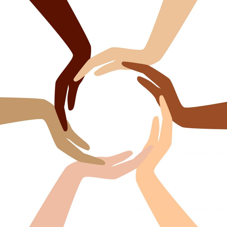 graphic of diverse hands forming a circle