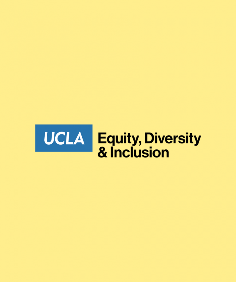 logo for ucla office of equity, diversity and inclusion on a yellow background